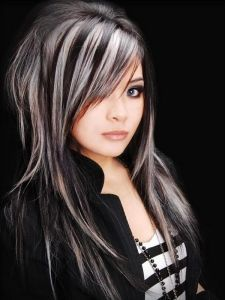 Platinum Blonde With Black Lowlights Hair Color For Black Hair