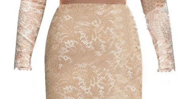 Champagne Long Sleeve Floral Lace Scalloped Hem Dress - Sheinside.com - Kate
