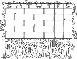 December Coloring Page Coloring Pages Kids Calendar