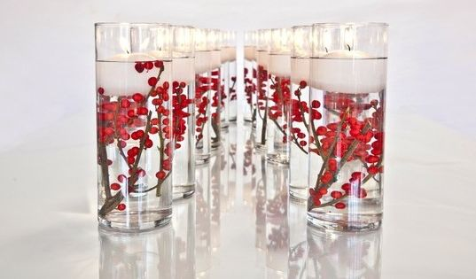 Red wedding centerpieces on a budget