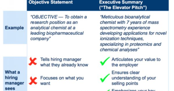 objective statement vs executive summary careers