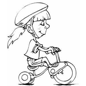 Girl On Tricycle Coloring Pages Sketches Kids Playing