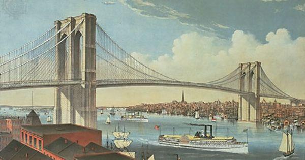 Nicole Crossing Brooklyn Ferry Brooklyn Bridge Brooklyn Bridge New York Bridge Art