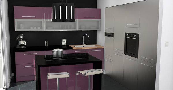 cuisine inox et aubergine contemporaine ilot central snack avec jambage plan de travail noir. Black Bedroom Furniture Sets. Home Design Ideas