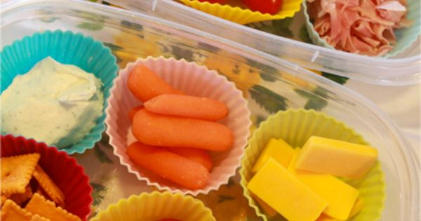 Kid Lunch Idea, using cupcake liners to separate items....this would be ideal