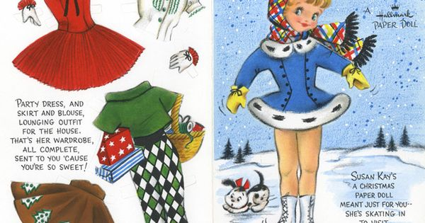 Printable Christmas Paper doll card Site has an enormous selection of vintage