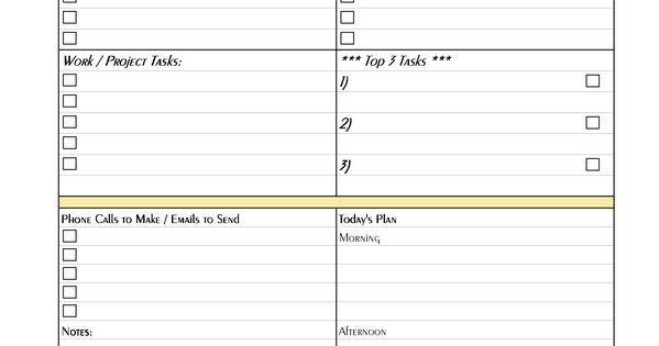 Daily Project Organizer Templates Free Free Printable