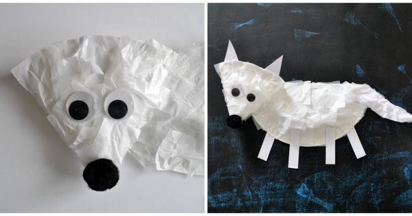 Paper Plate Arctic Fox Craft For Kids Crafts Fox Crafts