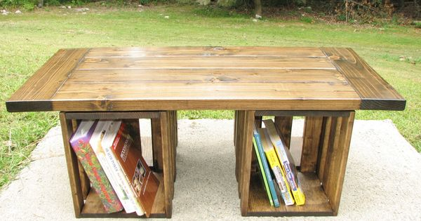 Coffee Table Rustic Crate Storage Country by EvergreenFurniture. Awesome. DYI using crates