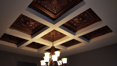 Da Vinci Faux Tin Coffered Ceiling Tile Drop In 24 In X 24 In 215 Faux Tin Ceiling Tiles Bedroom False Ceiling Design Drop Ceiling Tiles
