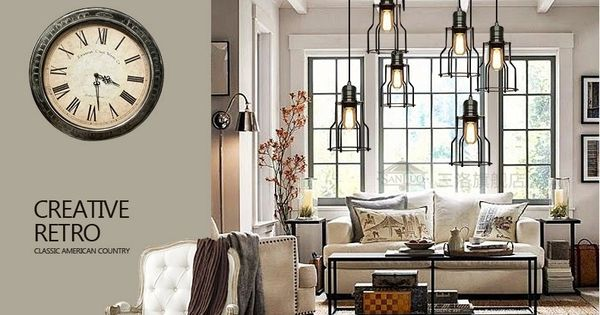 Loft industriel 6 fio cage lustre pendentif lampe de - Loft industriel design retro rustique ...