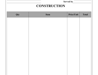This Construction Receipt Can Be Used By A Carpenter
