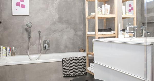 Badezimmer - alle Wände + Boden gespachtelt mit Béton Ciré ...