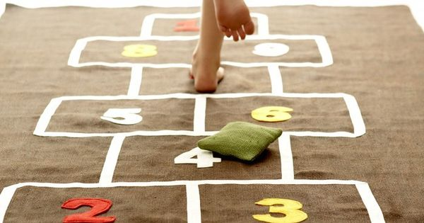 Love this indoor hopscotch mat! Perfect for inside play, learning to count,