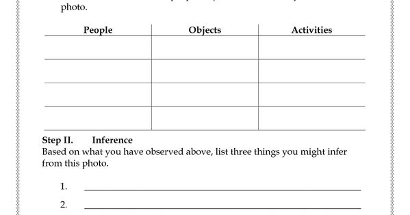 Photo Analysis Worksheet Step I Observation A Study The