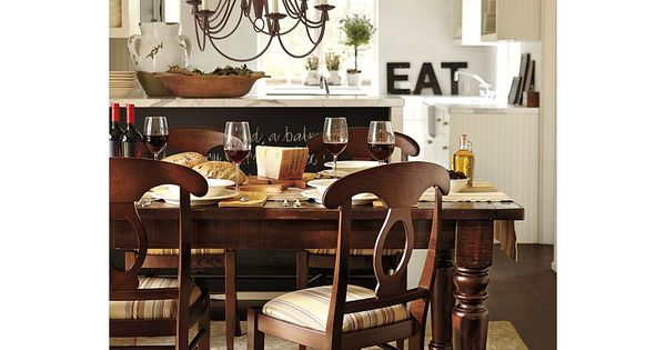 PB Sumner dining table; white kitchen with white counters : dining room designs : Pinterest ...