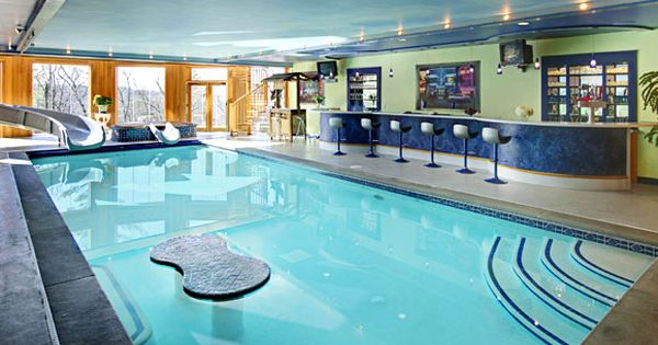 Indoor Swimming Pool With A Bar Water Slide Tv Dream Home Pinterest Indoor Swimming