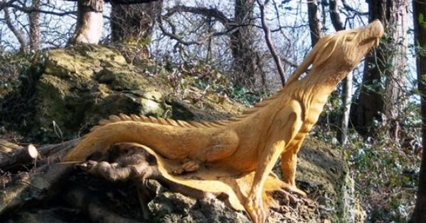 An enchanted forest of carved tree stump creatures sprouts