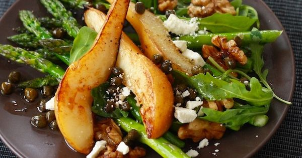 healthy-salad-recipes: Caramelized Pear & Asparagus Salad with Caper Vinaigrette Ingredients: 2 firm