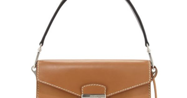 V2FJQ Prada Vachetta Bicolor Shoulder Bag, Natural/Black (Naturale ...