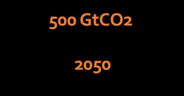 Tons of carbon dioxide gigatons of co2 in the air up to 2050 after
