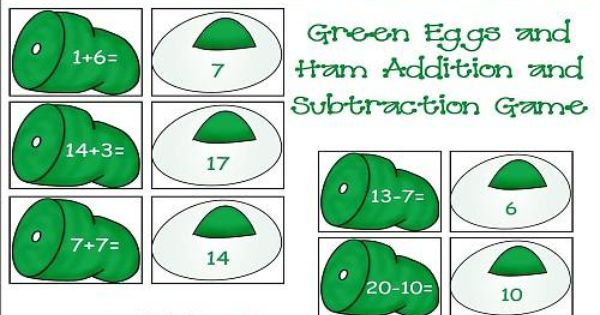 Green Eggs And Ham Addition And Subtraction Worksheet