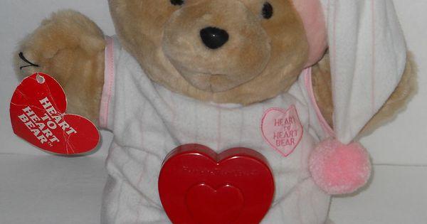 1986 chosun heart to heart bear night gown cap beating heart plush toy 18 u0026quot   chosun