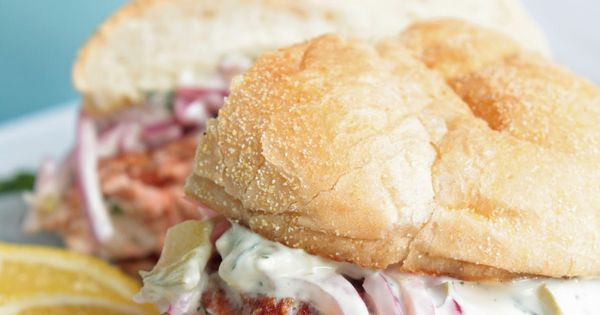 Salmon Burger with Dill/Caper Tartar Sauce and Red Onion Ceviche ...