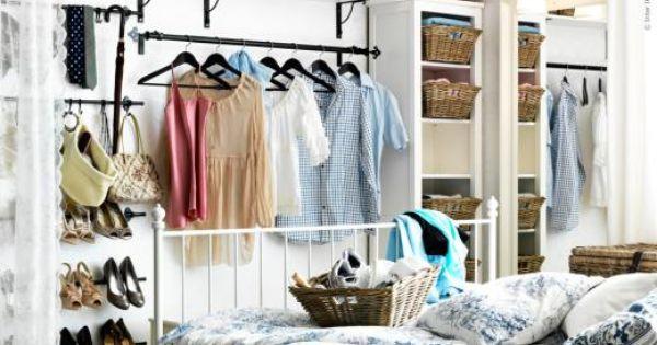 curtain rods open closet //