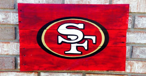 San francisco 49ers logo wall art handpainted recycled Salvaged wood san francisco