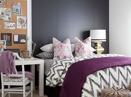 Paarse Decoratie Slaapkamer : Master Bedroom Chevron Pinterest