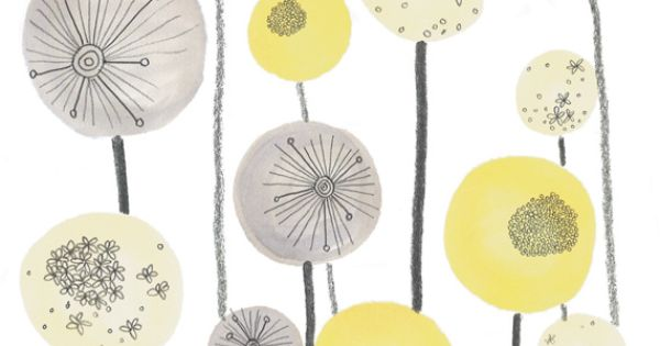 yellow and grey art print seed heads - £15.00  Arts & Crafts  Pinterest  놀라운 ...