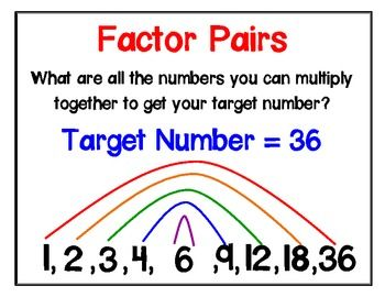 Factor Pairs Poster Math Time Fifth Grade Math Education Math