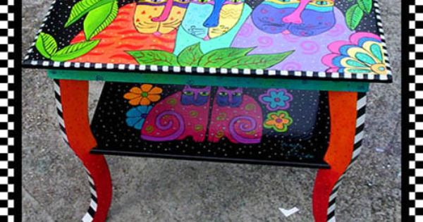 """""""Yummie Katz End Table"""" in the style of Laurel Burch.....(see my board"""