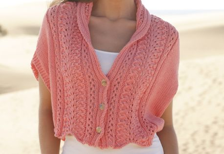 Knitting Pattern For Lace Collar : Knitted DROPS jacket with lace pattern and shawl collar in ?Paris?. Size: S -...