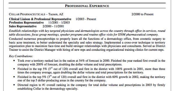 Sample Resume Pharmaceutical Sales Representative
