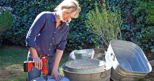 zinkwanne bepflanzen anleitung l cher f r drainage bohren garten pinterest. Black Bedroom Furniture Sets. Home Design Ideas