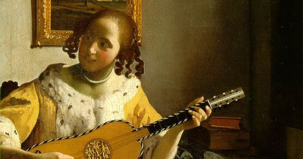 La joueuse de guitare vermeer vermeer dutch painting for Biographie de vermeer