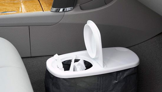 Cereal container as a car trash can- good idea for road trips!