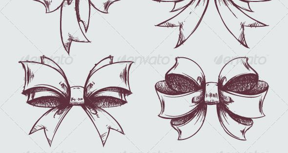 Hand drawn gift bows. GraphicRiver Vector set of beautiful hand drawn gift