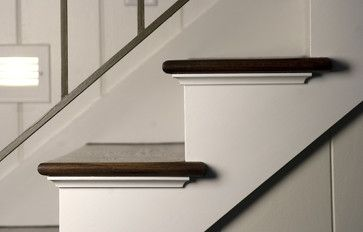 So Theres This Way To Go With Stair Tread Returns Cove Moulding Wood Side Panel But It Looks So Traditional Cove Moulding Stair Moulding Stairs Trim