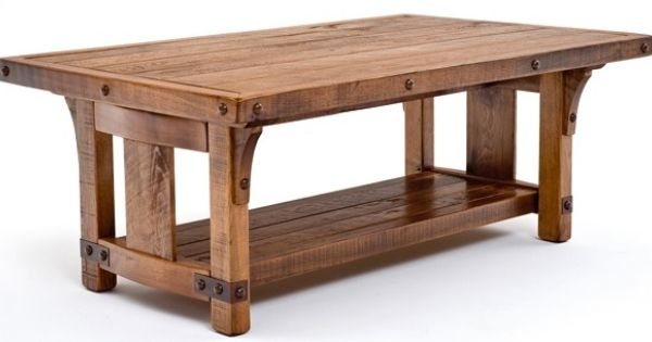 Bungalow coffee table features solid wood forged metal for Mission style kitchen table