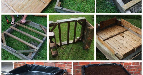 potager sur lev fabriqu avec des palettes en bois diy. Black Bedroom Furniture Sets. Home Design Ideas