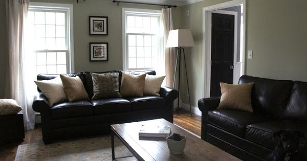 decorating with black leather couches my house inspiration pinterest house tours wall colours and curtain ideas