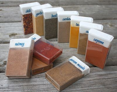 Repurposed TicTac Boxes for Travel Spices on camping trips diy food tip