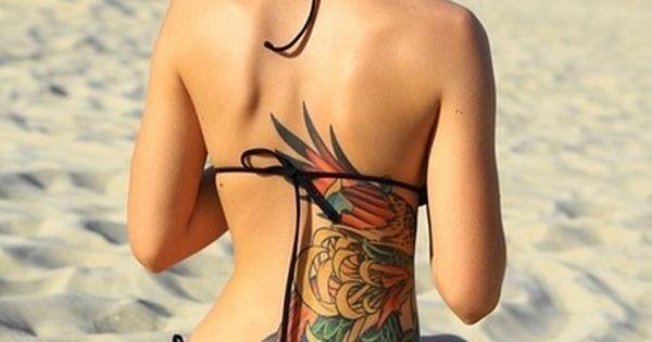 Colourful back & side tattoo