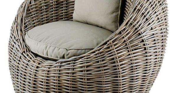 fauteuil boule kubu en rotin de bananier 78x72x78cm sur. Black Bedroom Furniture Sets. Home Design Ideas