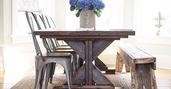 Farmhouse table farmhouse style farmhouse remy chairs restoration hardware b vintage - Restoration hardware entry table ...