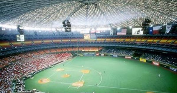Houston Astrodome 1966 1999 Eighth Wonder Of The World Was One Of The Most Imposing Old Baseball Stadi Baseball Stadium Major League Baseball Stadiums Stadium