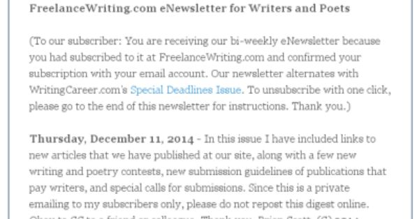 FreelancewritingComS Enewsletter For Writers And Poets